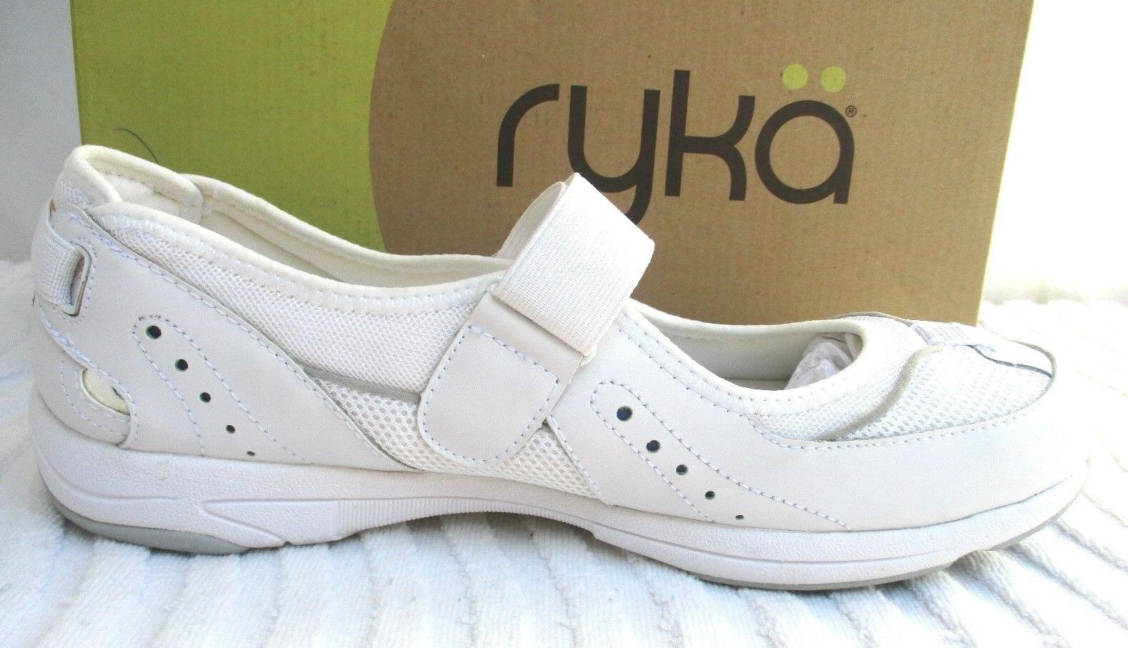 RYKA..OFF WHITE..SUEDE LEATHER & FABRIC..MARY JANE..FLATS..NEW in BOX.sz 12 WIDE