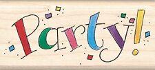 Party Mambi Inkadinkado Wood Stamp NEW invitation rubber mounted birthday event