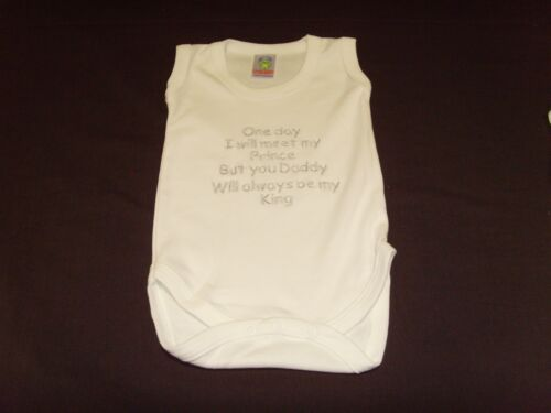 Funny Embroidered Personalised Vest Baby Shower Gift One day meet prince daddy k