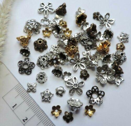 spacer perlas remates flores-Mix farbmix Perlkappen 50x 6-12mm