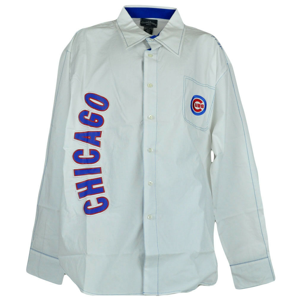 MLB Courbé Chicago Cubs Hommes Boutonnière Manches Taille Longues Chemise Col Taille Manches 352921