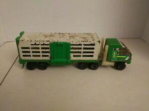 VINTAGE-TONKA-SEMI-CATTLE-HORSE-TRAILER-811974-A-Pressed-Steel-Green