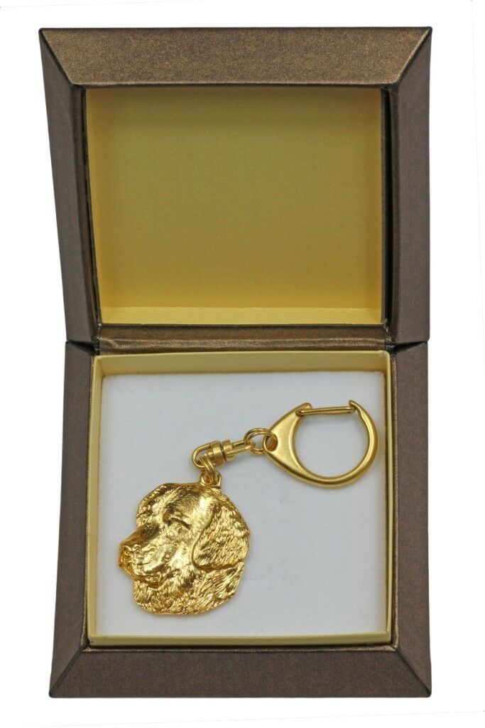 golden Retriever - gold covered keyring with dog, box, quality, keychain Art Dog