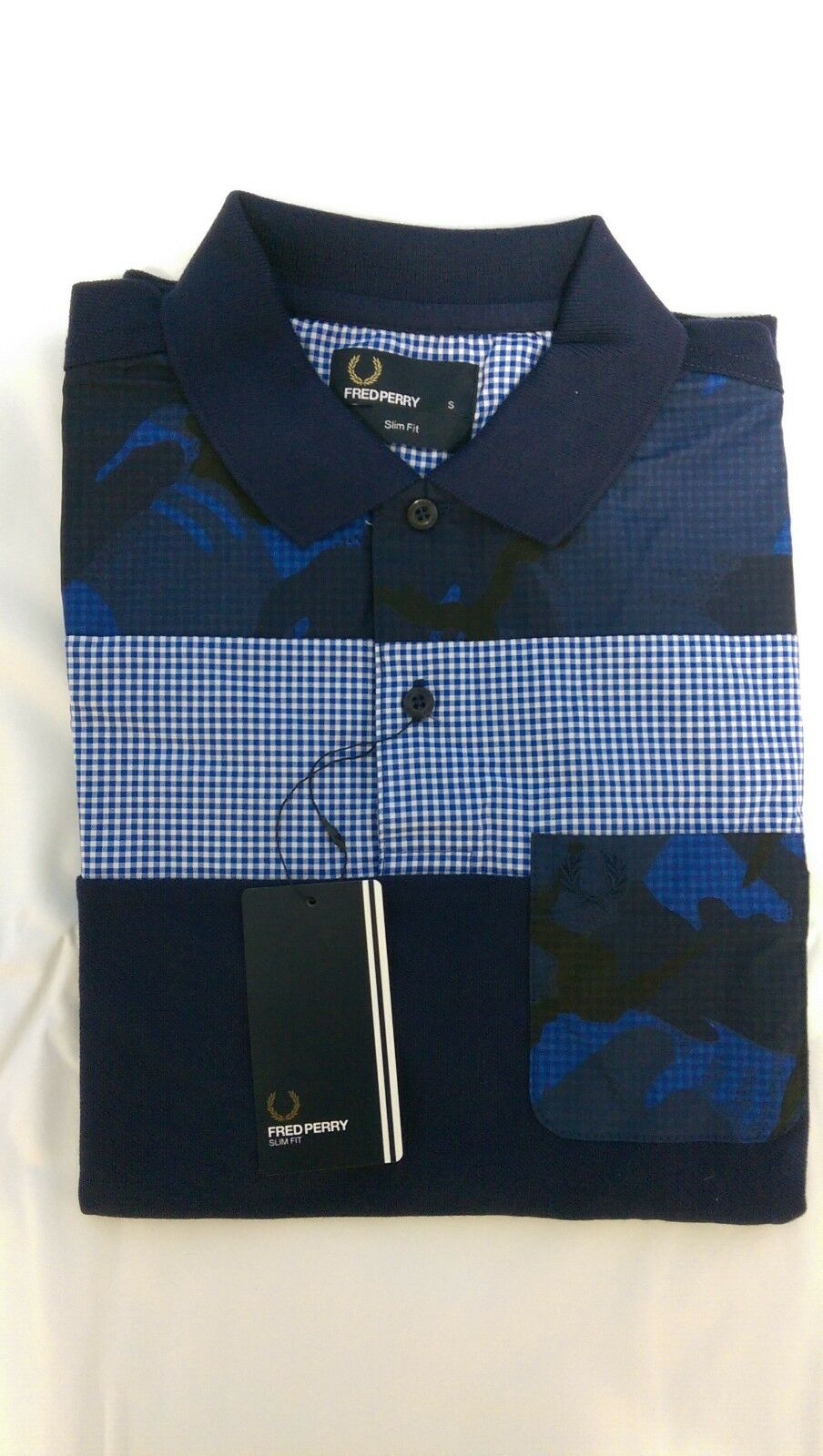 Fred Perry Men's Overdyed Gingham Como Polo Shirt Sizes  S   XL SLIM-FIT