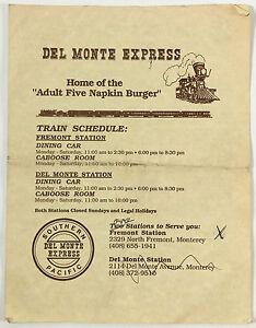 Image is loading Vintage-Menu-DEL-MONTE-EXPRESS-Train-Restaurant-Monterey-
