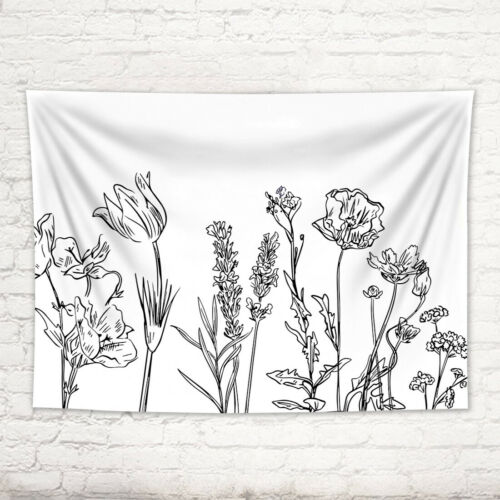 Sketch Wildflowers Black and White Tapestry Wall Hanging for Living Room Dorm
