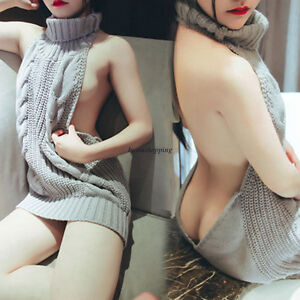 Image Is Loading Sexy Womens Korean Backless Sweater Cocktail Clubwear Cosplay