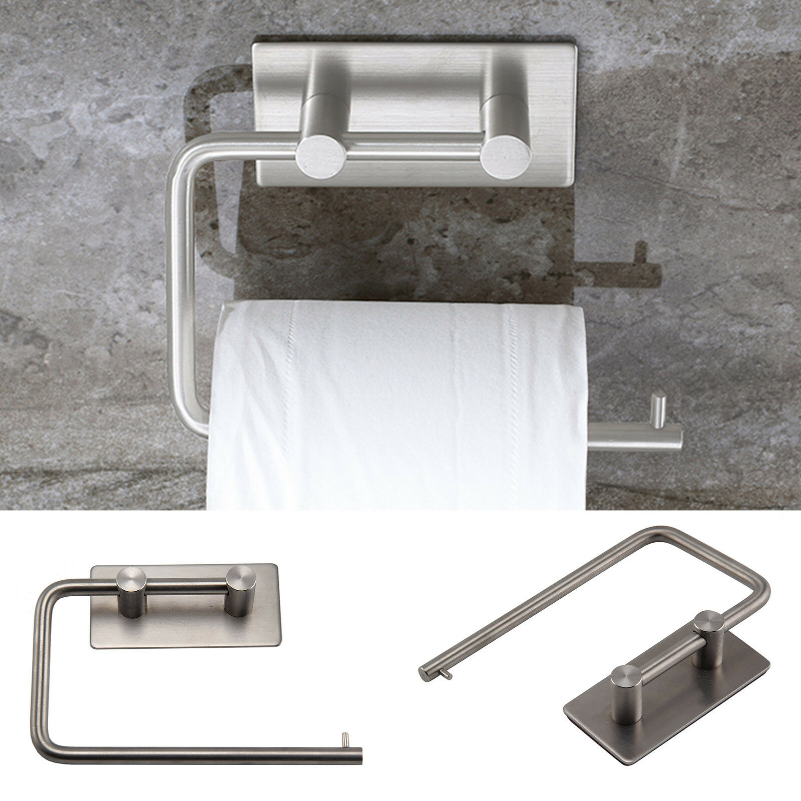 Polished Stainless Steel Toilet Roll Holder Self Adhesive Stick On ...