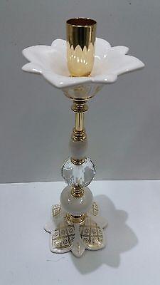 Candeliere A 1 Fiamma Via Veneto Foglia Oro Ceramica Arredo Casa Sala