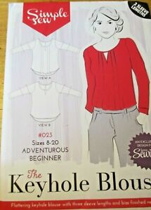 SIMPLE-SEW-SEWING-PATTERN-NO-023-THE-KEYHOLE-BLOUSE-3-SLEEVE-LENGTHS-SIZES-8-20