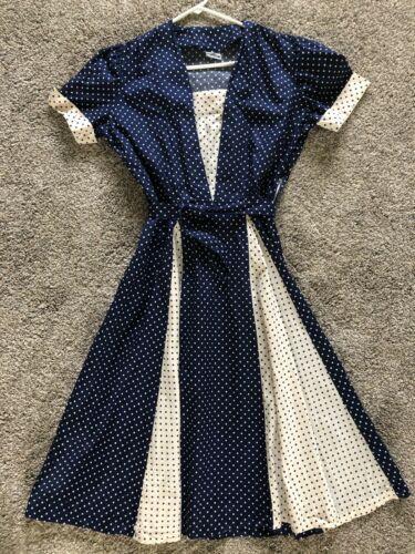 1950's Princess Peggy White and Blue Polka Dot Sho