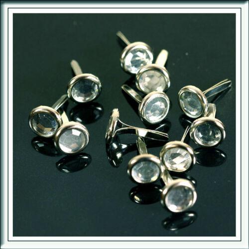 BRADS Pour Artisanat /& scrapbooking mariage cristal clair rond 8 mm x 12mm aprx 100