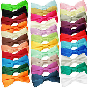 DQT-Satin-Plain-Solid-Formal-Classic-Pre-Tied-Mens-Bow-Tie-FREE-Matching-Hanky