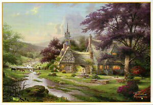 clocktower cottage thomas kinkade card with message holy bible rh ebay com thomas kinkade clocktower cottage lithograph