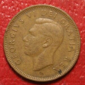 1949-034-Off-Denticle-034-Canada-Cent-Penny-Circulated-Canadian-Coin