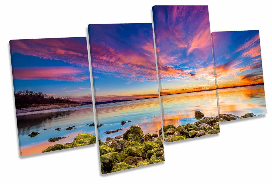 Sunset Seascape Scene Beach MULTI CANVAS Wand Kunst Boxed Framed