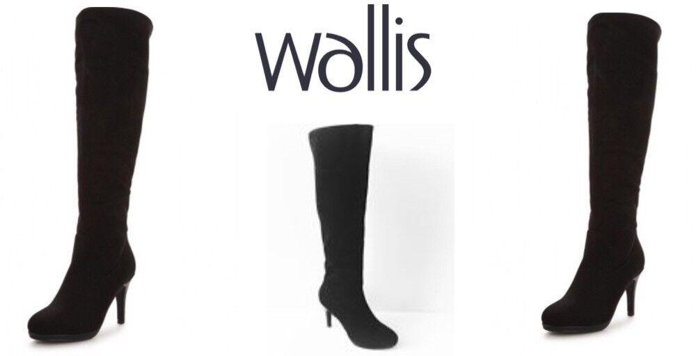 Señoras de la rodilla botas altas Heron por Wallis Wallis Wallis Negro Talla Uk4 Nuevo  disfruta ahorrando 30-50% de descuento