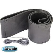 Lenkradbezug dunkel grau echt Leder Schnüren Lenkrad Schoner 37 38 39 cm [208]
