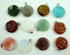 Wholesale 12PC Beautiful Mixed agate Gemstone Flower Pendant Beads