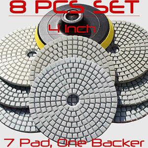 Diamond-Polishing-Pads-4-inch-Wet-Dry-8-Piece-Set-Granite-Stone-Concrete-Marble
