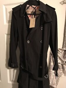 1843294821a0 Image is loading Burberry-Trench-Coat-women-black-size-10