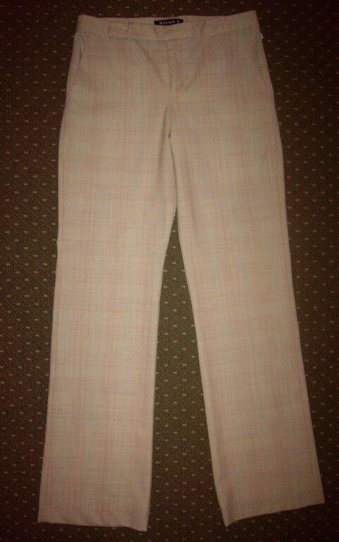 Nuova con Etichetta William B Beige Lana Plaid Pantaloni Misura
