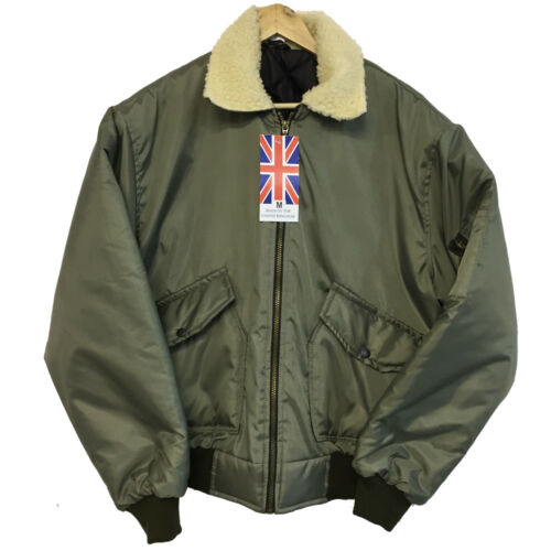 Mens Classic MA2 Flyer Bomber Jacket with FAUX Fur Collar in Beige Warm Padded