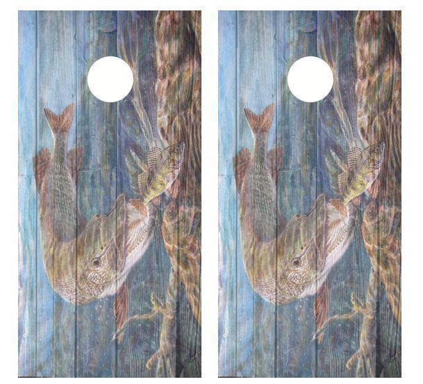 Northern Pike Painting Barnwood Cornhole  Board Wraps FREE LAMINATION  counter genuine