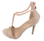 thumbnail 4 - Womens Ladies Beige Faux Suede High Heel T-Bar Party Sandals Shoes Size UK 7 New