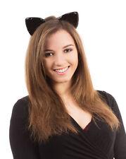 Nero LUCIDO orecchie da gatto su fascia Halloween Festa Accessorio femminile