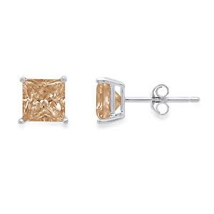 3-Diamante-Corte-Princesa-champan-simulante-Stud-Pendientes-14k-Oro-Blanco-empuje-hacia-atras