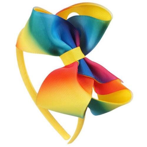 Girls Hair Accessories Rainbow Ribbon Bow Bowknot Hairband Headband Head Hoop