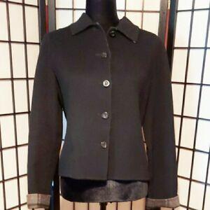 CHARTER-CLUB-Reversible-Black-Plaid-Wool-Blend-Jacket-Size-Petite-Blazer