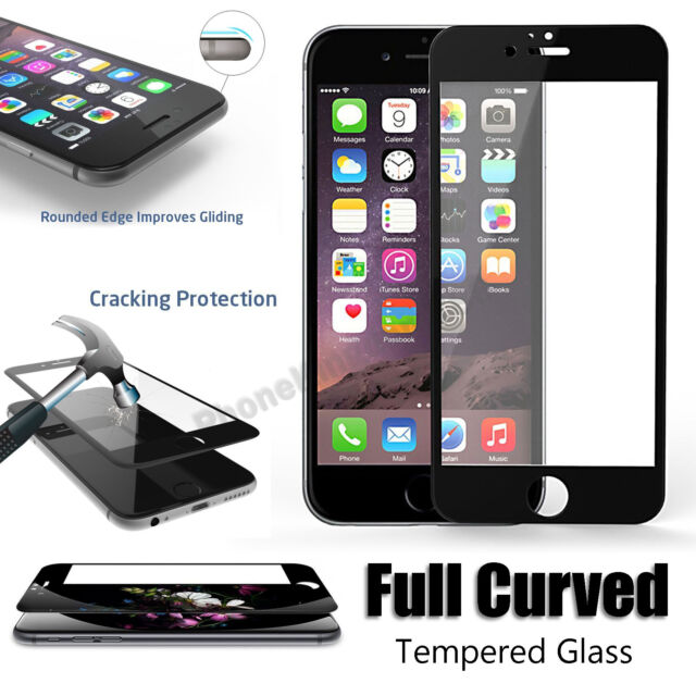 Full Cover Tempered Glass 3D Curved Screen Protector For iPhone 6S 6 - PET Black