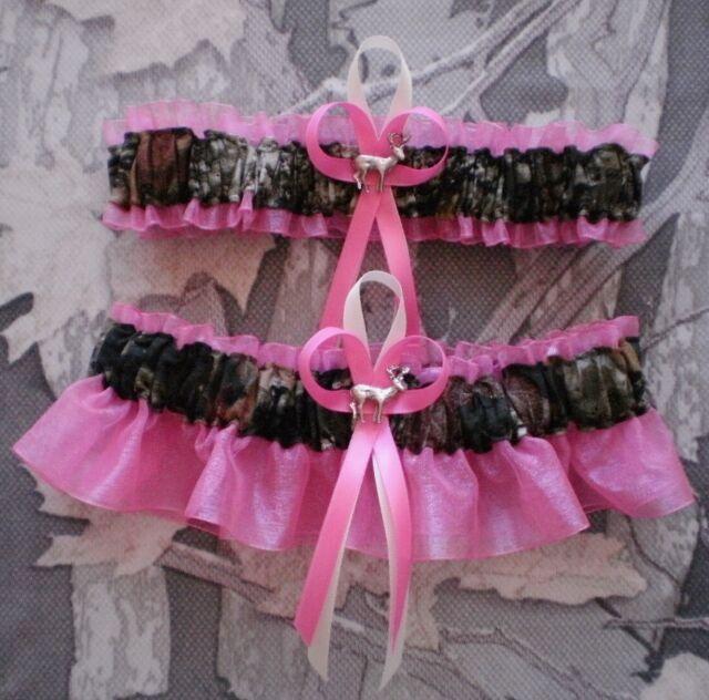 NEW Mossy Oak Camouflage Camo Hot Pink Black Wedding Garter Prom Hunting Deer**