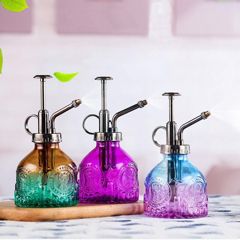 Vintage Embossed Glass Flower Watering Pot 200ml Spray Bottle Mist Sprayer Pot