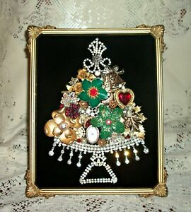 Jewelry Christmas Trees.Details About Vintage Jewelry Art Framed Christmas Tree Free Shipping 340