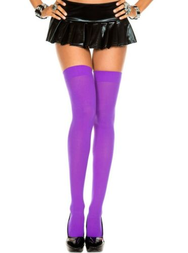 Opaque Thigh High Stockings Pastel /& Neon Colors Rave Halloween Witch Costume US