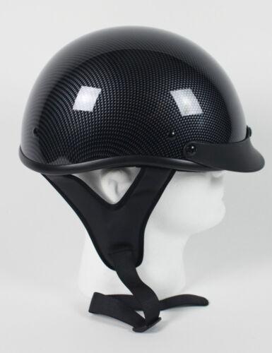 DOT CARBON FIBER LOOK SHORTY  MOTORCYCLE HALF HELMET BEANIE LIGHTER SHELL 30 OZ.