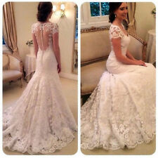 2017 White Ivory Lace Mermaid Wedding Dresses Appliques Long Sleeve Bridal Gown