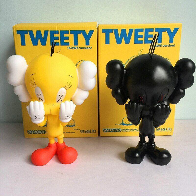 KAWS Tweety Amarillo Negro MoMA Escultura Figura de acción de PVC botaleg hypebeast 20cm