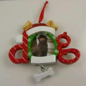 dog-Photo-frame-holiday-Christmas-Ornament-Xmas-Bone-Santa-hat