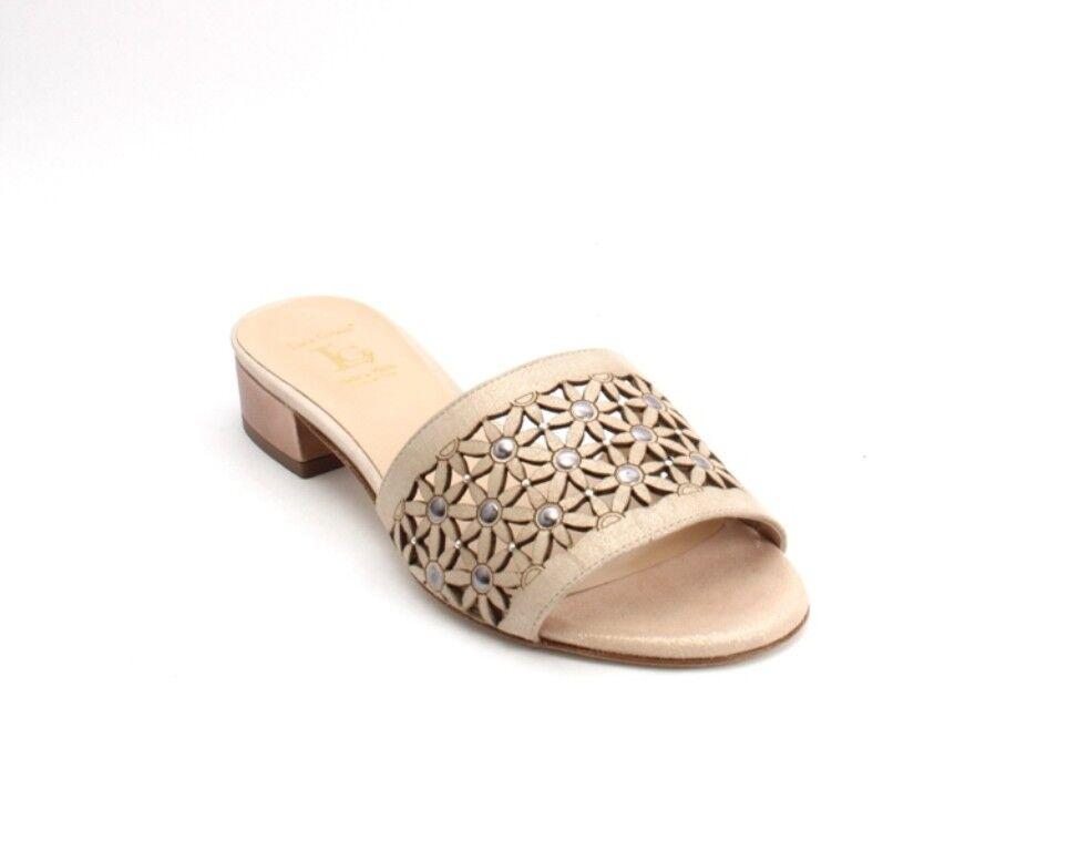 Luca Grossi 918 Beige   Bronze Suede Leather Heel Slides Sandals 35   US 5