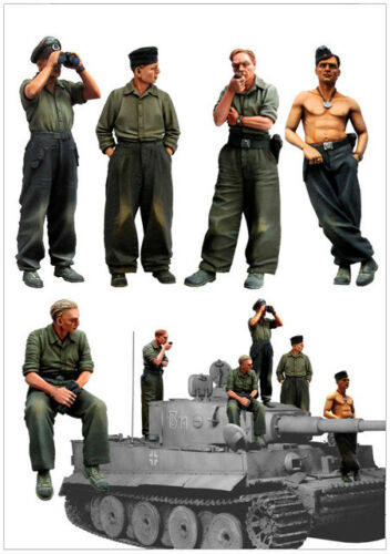 5 figures//kit Soldiers and Commander officer 1//35 WW2 German Tiger Tank Crew