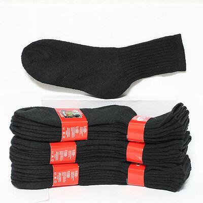 4 12 Kids Cotton Socks Crew High Solid Black Heavy Junior Size 6-8 Unisex School