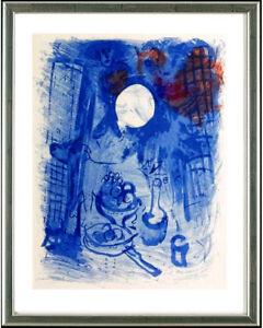 Marc-Chagall-1887-1985-Original-Graphik-Blaues-Stilleben-Paris-1957-gerahmt