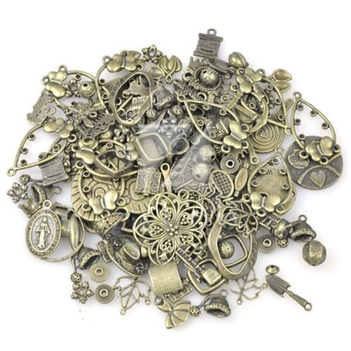50g Antikes Messing Metall Anhänger Charme Perlen Zufällig Gemischt 1