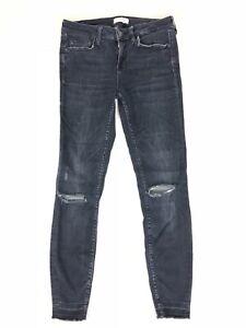 50726154fb6 Zara Woman Jeans 4 Back Wash Distressed Destroyed Skinny Raw Hem ...