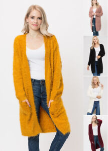 Women s Eyelash Knit Warm Oversized Open Front Long Cardigan Sweater ... b470f2302