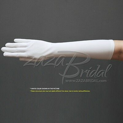 "15.5"" Long Stretch Dull Matte Satin Dress Gloves Below-the-Elbow Length/No Shine"